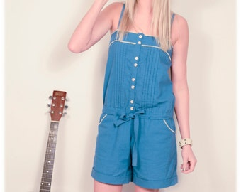 Teal Blue Shorts Jumper / Romper Playsuit with White Trim Retro Pinup Beach Wear Size Small