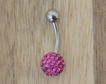 Fuchsia Pink Chunky Multi Gem Ball Belly Button Ring Navel Body Piercing Jewelry