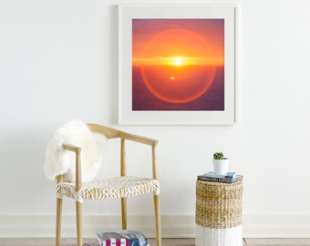 Sun rings photography - Abstract seascape print - Dreamy California art - Psychedelic nature wall decor - Colorful photo print - large art