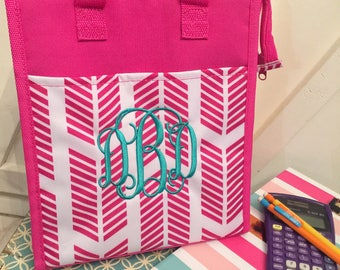Monogram lunch bag/ insulated lunch tote