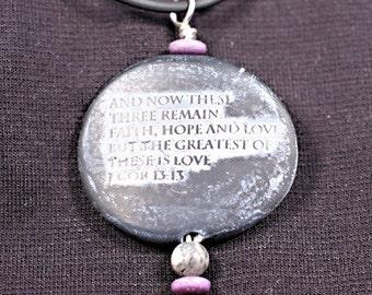 faux stone pendant, Love verse
