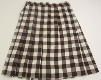 vintage wool brown and white buffalo plaid Florence Eiseman size 12  brown plaid pleated skirt
