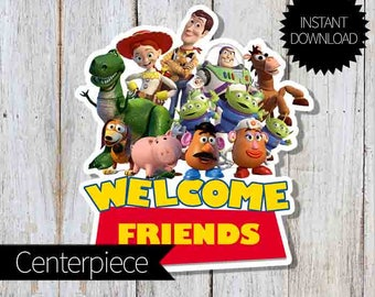 Toy Story Birthday Party PRINTABLE Large Centerpiece- Instant Download | Disney Toy Story| Andy's Room| Welcome Sign