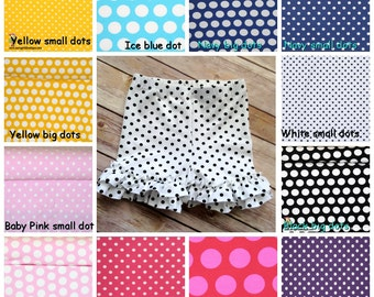 Baby shorts, toddler shorts. Polka dot Ruffle Shorties 6 months - girls 8 (10 color options)