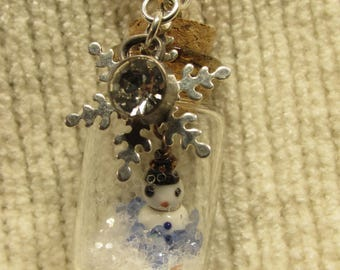 Snowman Glitter Jar Necklace