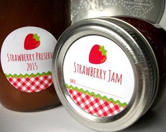 Gingham Strawberry canning jar labels, round red canning labels for mason jars, fruit preservation, jam jelly & preserves labels