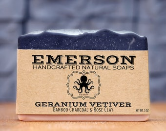 100% Natural Geranium Vetiver Soap  •  Vegan Soap, Palm Free Soap, All Natural Soap, Handmade Soap, Zero Waste, Waste Free, Charcoal Soap