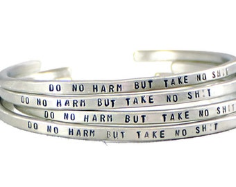 Personalized Cuff Bracelet. Custom Bracelet. Motivational Jewelry. Silver Cuff Band. Womens Bracelet. Do No Harm Bracelet. Mantra Jewelry.