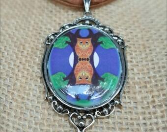Owl Pendant Necklace - Owl Cameo Pendant - Oracle Cameo Necklace - Porcelain Cameo - Owl Pendant - Steampunk Pendant - Friendship Necklace