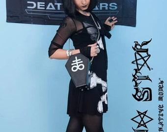 black hell coffin satanic shoulder bag