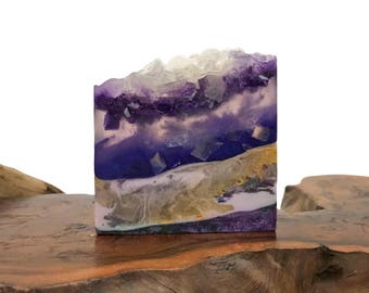 Amethyst Crystal Soap - Polished Agate Square Crystal Hand / Bath Bar Soap (Blackberry Sage Scent) : PM013