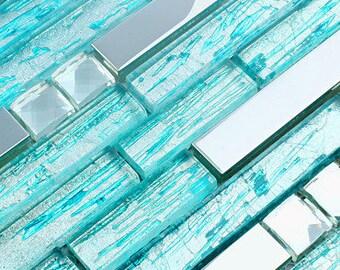 Silver Stainless Steel Tiles Crystal Backsplash Metal Mosaic Cyan Glass Bathroom Teal Blue Tile Strip Random Interlocking Pattern