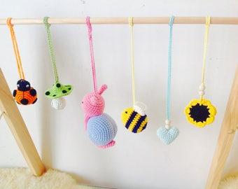 My Little Garden Baby Gym Toy, Crochet Baby Gym Toy,  Nursery Toy, Crochet Snail Baby Gym centre Toy, My garden Gym toy