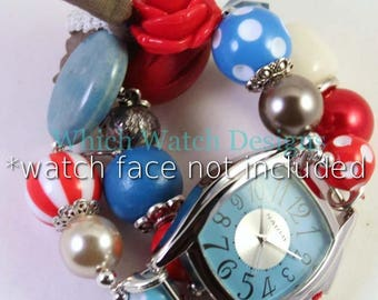 SALE Summer Hues.. Red, Blue, Beige and Taupe Interchangeable Beaded Watch Band