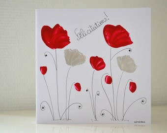 wedding-painted card, poppies, card congratulations, original, handmade, wedding party, romantic card, map art