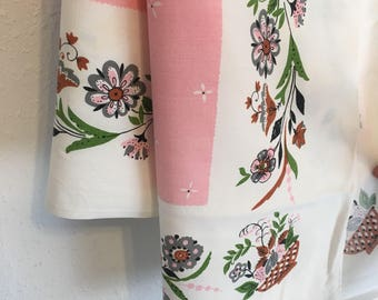 "pink white tablecloth, vintage floral tablecloth, 46"" x 46"", pink, grey, green brown tablecloth, Vintage Tablecloth, Vintage Table Linens,"
