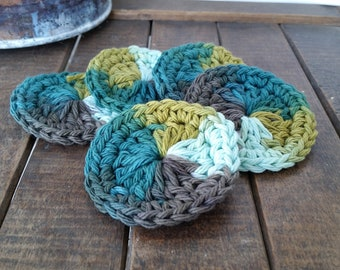 Crochet Blue/Green/Gray Ombre Facial Scrubbies, Set of 5
