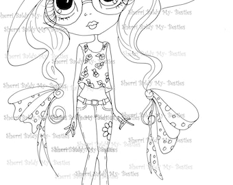 INSTANT DOWNLOAD Digital Digi Stamps Big Eyed  My Bestie Digi Stamp Besties Big Head Dolls B- Tween Besties Digi IMG126 By Sherri Baldy