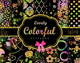 "Colorful digital paper : ""Colorful Patterns on Black"" neon and black digital paper, watercolor digital patterns on black background"