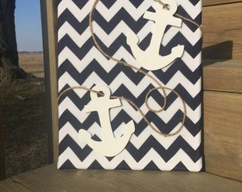 Chevron canvas with anchor accent