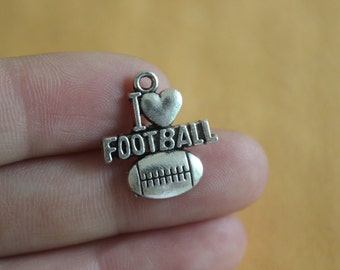 I Love Football Charms Antique Silver Tone Heart Football Pendant  18*20mm