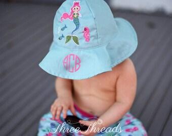 Monogrammed Mermaid Girls Sunhat, Personalized Sunhat, Toddler Sunhat, Baby Sunhat, Baby Gift, Girls Sunhat