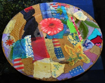 PLATE Round PLATTER, Tray w/ Collage Decoupage, Lightweight, For Mail, Coins, Keys & More, by Yael Bolender