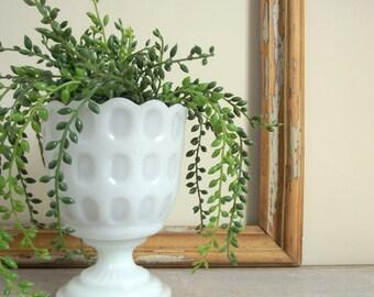Milk Glass Planter , White Thumbprint Pedestal Urn Pot , E.O. Brody M4200 , Vintage Decor White Centerpiece , Wedding Decor