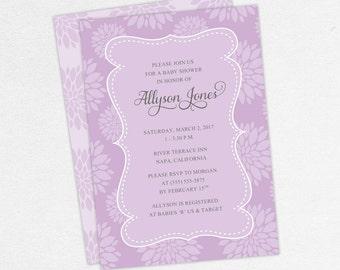 Baby Shower Invitation, Girl Baby Shower, Neutral Baby Shower, Printable Invitation, PDF Invitation, Floral, Flowers, Purple, jpg, Cherished