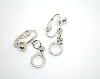 Clip On Hand Cuffs Earrings Gold Silver Design