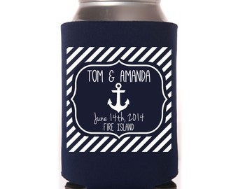 Beach Wedding Favors - Nautical Personalized Anchor Can Coolers, Reception Favors for Guests, Summer Wedding, Beer Insulators, Spring