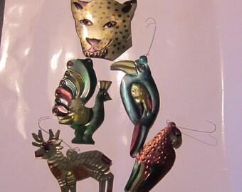 vintage christmas ornaments tin mexico parrots deer cheetah original labels