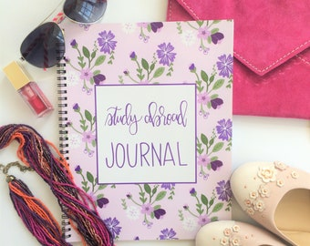 Study Abroad Journal - Purple Floral - Personalization Now Available!