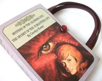 Book  Purse Nancy Drew Mystery of the Glowing Eye Secret of Forgotten City Handbag Upcycled Book Bag