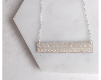 Sterling Silver 'Marrakech' Moroccan Tile Print Bar Necklace