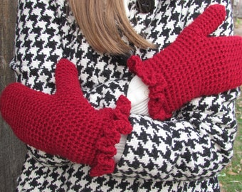 Sweet Jane Mittens: Crochet Gloves, Womens, Winter Gloves