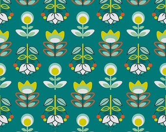 Teal, fabric Holly fabric Scandinavian, fabric flowers, 1/2 meter