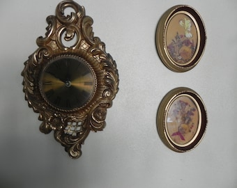 Vintage Wall Clock Elgin Battery Gold Tone and Two Custom Framed  Pressed Flowers Pictures