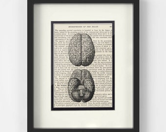 Neurology, Brain Art over Vintage Medical Book Page - Gift for Neurologist, Neurologist Gift, Neuro Nurse, Neuroscience, Neurosurgeon