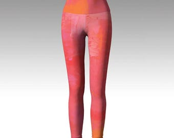 Pink Yoga Leggings, Dusty Rose Leggings, Yoga Leggings, Yoga Pants, Printed Leggings, Women's Leggings, Boho Leggings, Yoga
