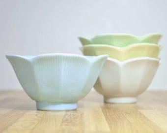 Vintage Pastel Porcelain Ceramic Lotus Bowls:  Set of 4 Pale Blue, Green, Yellow and White