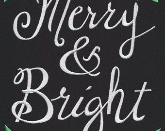 Merry & Bright Embroidered Towel - Made To Order