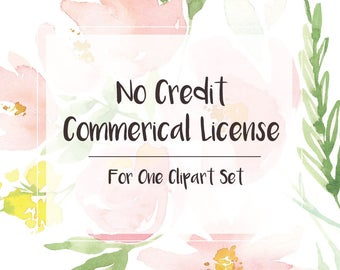No Credit Commercial License - For One Clipart Set