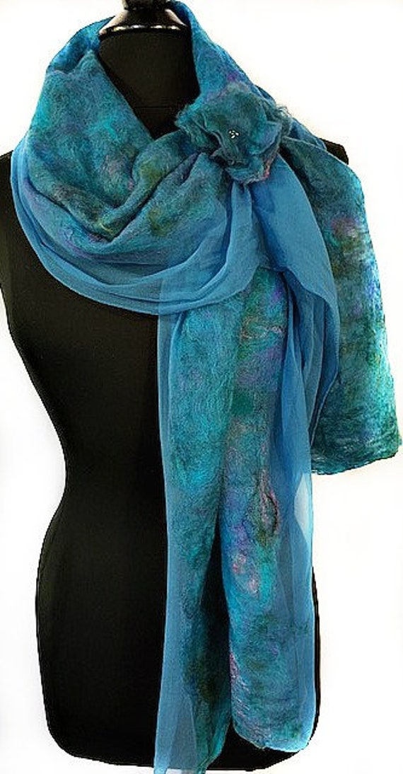 Turquoise Felted Wrap, Silk Felted Scarf, Turquoise + Purple Scarf, Nuno Felted Scarf, GiftForHer, Graceful Ewe Fiber Arts: Seaside Dreams