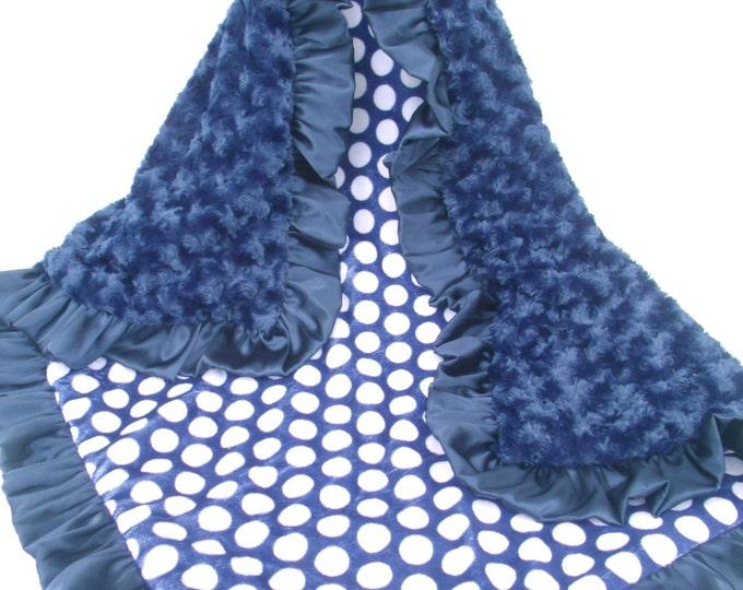 Navy Blue and White Polka Dot Minky Baby Blanket