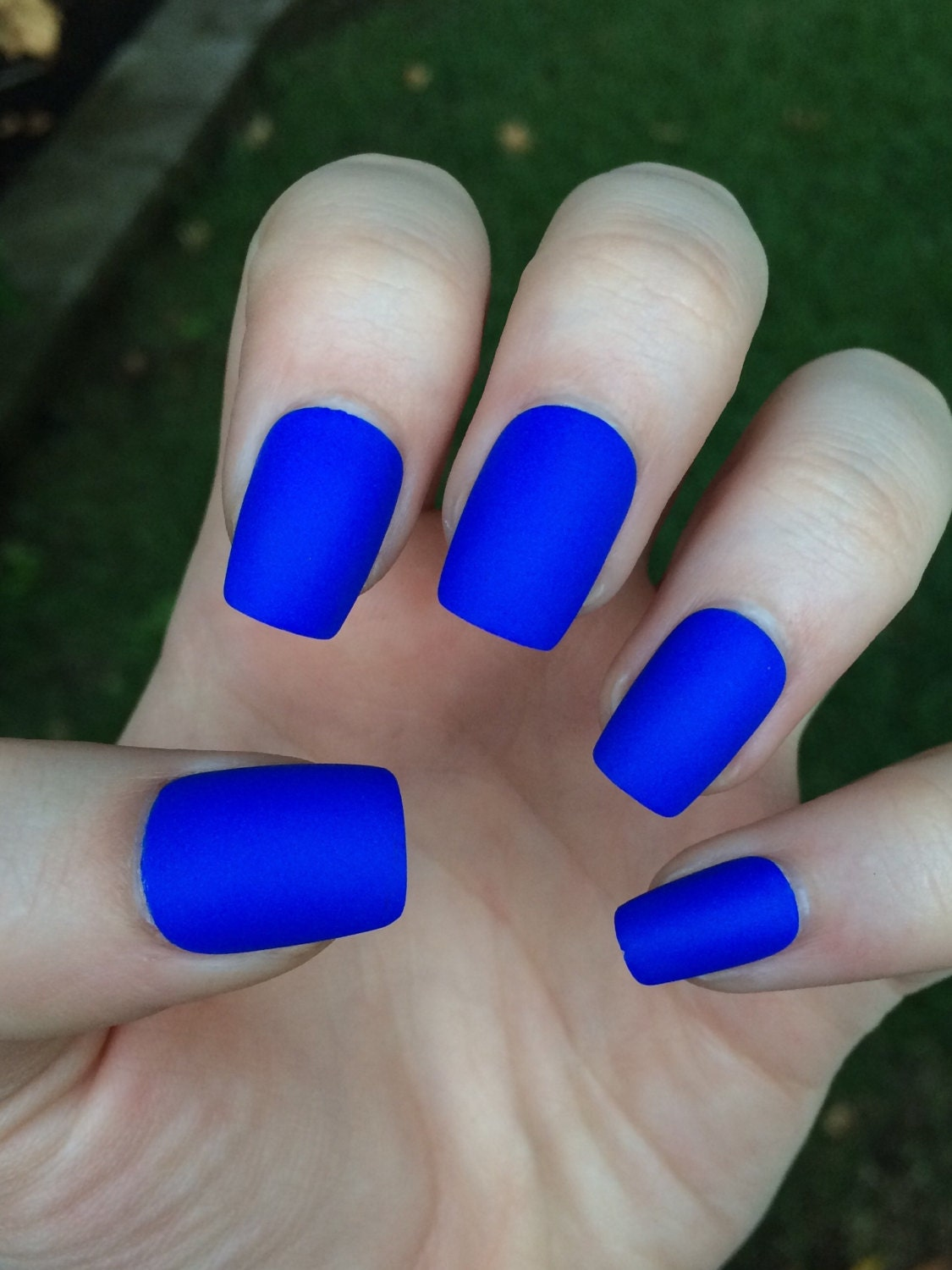 blue fake nails matte nails matte press on nails