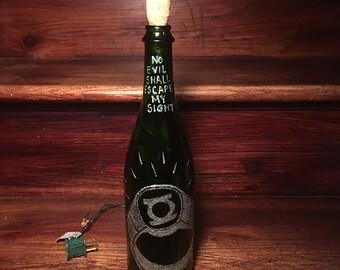 Light Up Green Lantern Inspired Wine Bottle