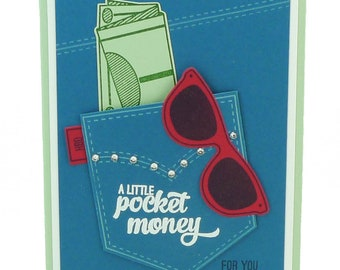 128-Pocketful of Change Birthday Card, Teen Girl, Woman, Gift Card Holder, Money Holder, Jeans, Denim, Rhinestones, Sunglasses, Hip, Fashion