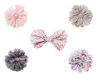 Bw and Chiffon Flower Hair Clip Set