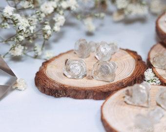 Tabular quartz stud earrings, Herkimer diamond earrings Diamond quartz post earrings raw quartz studs tibetan quartz sterling silver studs